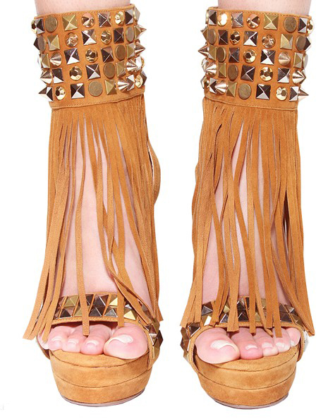 new arrive Luxury sexy money sheep  hair Jing open bind tassel rivet spike waterproof  high-heeled 13cm women  sandals