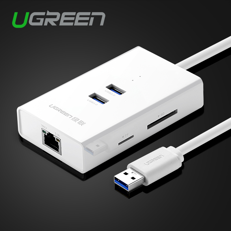 Ugreen High Speed 2 Ports USB 3.0 HUB with TF/SD Card Reader to RJ45 Gigabit Ethernet Lan Wired Network Adapter for Window Mac(China (Mainland))
