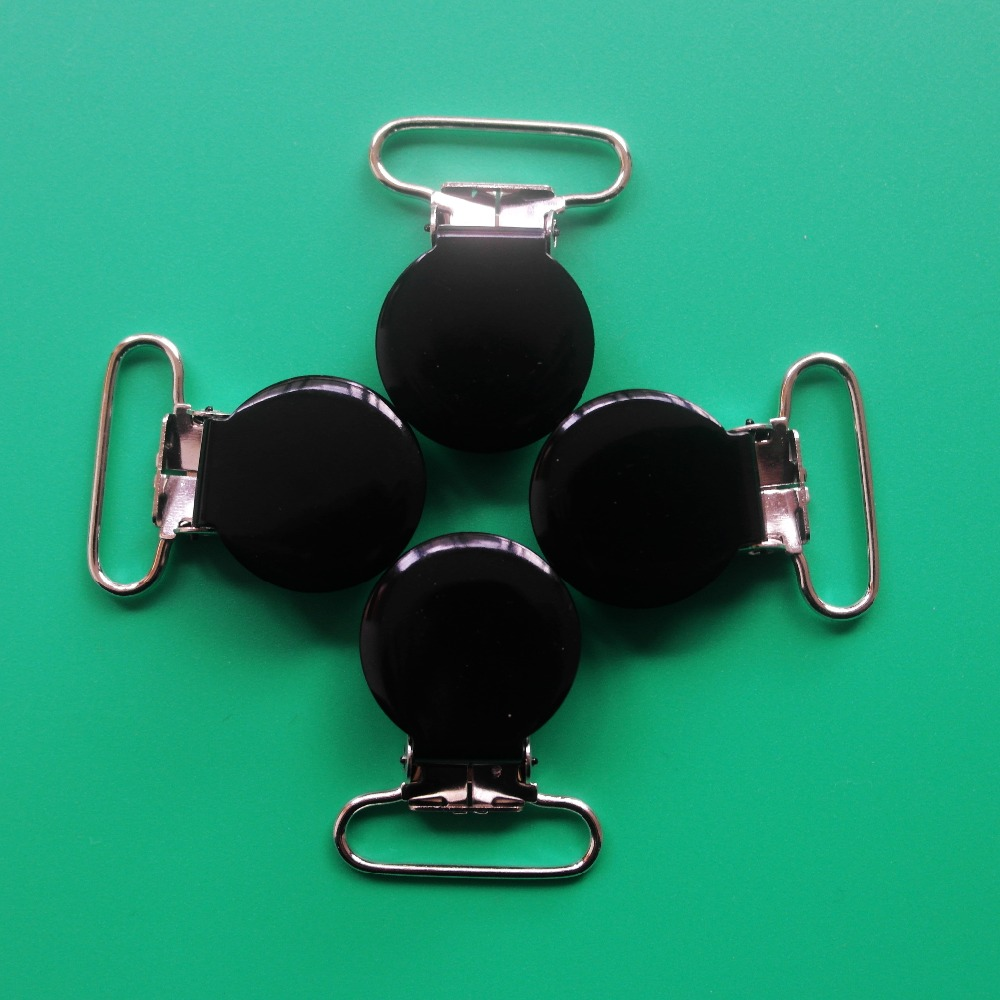 Hot Sale 20Pcs Black Color Round Top Enamel Suspender Clips,Metal Pacifier Clip For 25MM Ribbon,With Plastic Teeth,Lead Free<br><br>Aliexpress