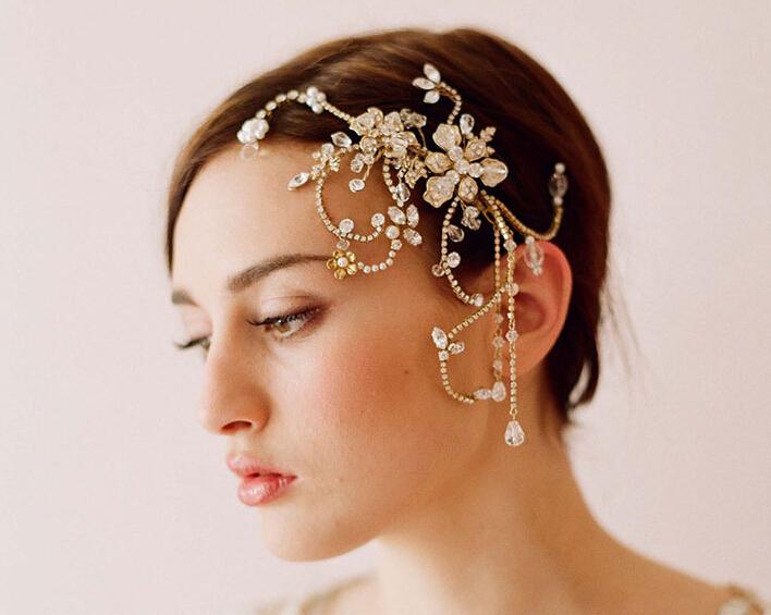 Bride headdress hair comb crystal manual hair combs(China (Mainland))