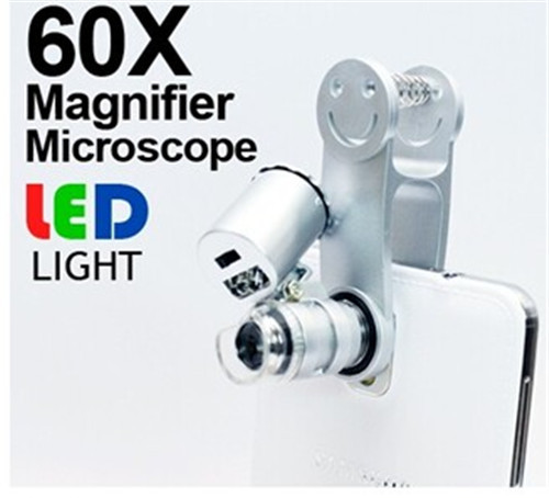 Wholesale 60X Zoom Mobile Phone Microscope with Universal Smile Clip(Silver) Free shipping