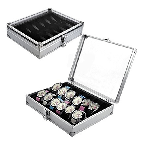 2016 Useful 6/12 Grid Slots Jewelry Watches Aluminium Alloy Display Storage Box Case(China (Mainland))