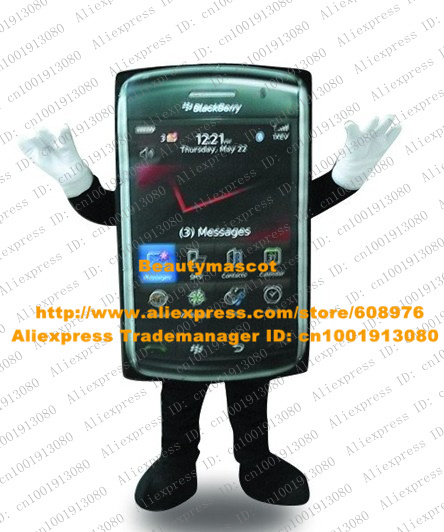 Smart Black Mobile Phone Mascot Costume Mascotte Cellphone Handset Cell Phone Adult With Black Red Screen No.3966 Free Ship(China (Mainland))