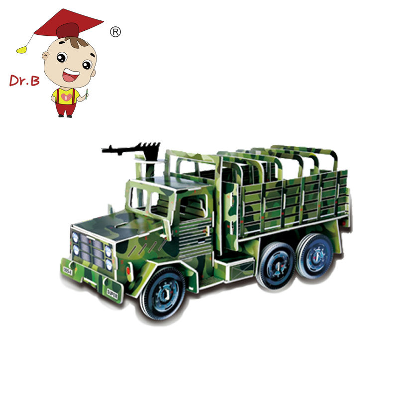 DR.B Children 3D Puzzle Military Vehicle DIY Camouflage Car Jigsaw Kids Toys Assembly Truck Model Slides With Wheels 005-8(China (Mainland))
