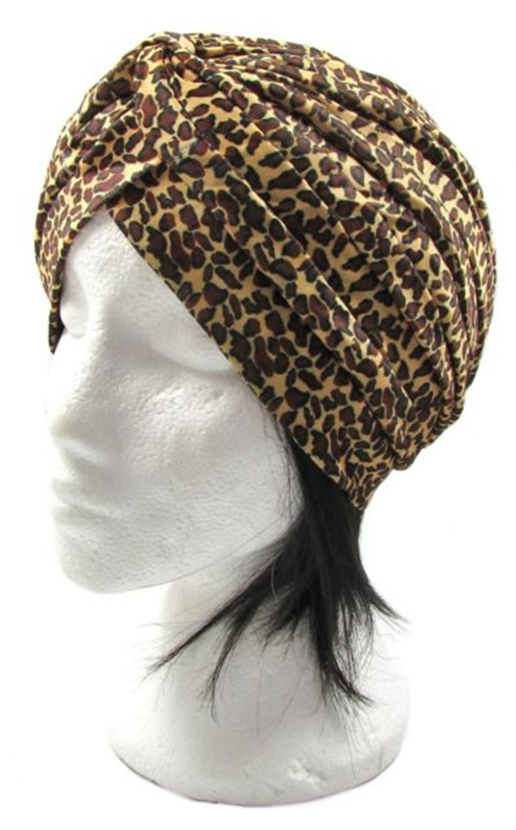 Leopard pattern Turban Head Wrap Band Hat Chemo Bandana hair cap(China (Mainland))