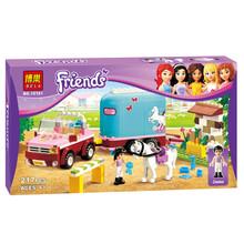Friends Girls BELA 10161 Heartlake Emma's Horse Trailer Andrea Olivia Mia Blocks Minifigures Toy Compatible With Lego bricks(China (Mainland))