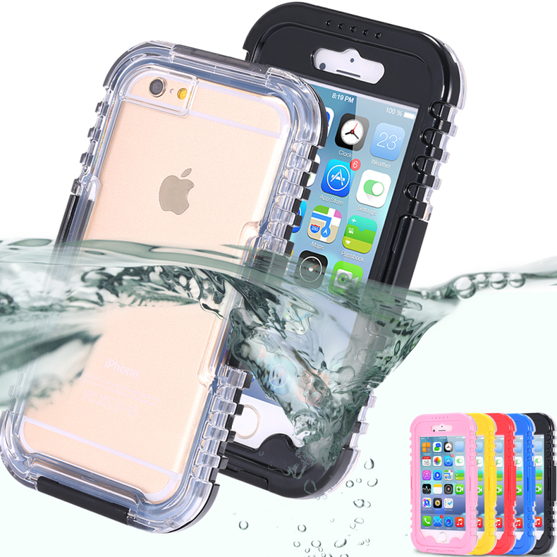 Swimming Diving For iPhone 6 Capa Waterproof Case For Apple iPhone 6 4.7'' Slim Transparent Crystal Full Protection Cover Bag(China (Mainland))