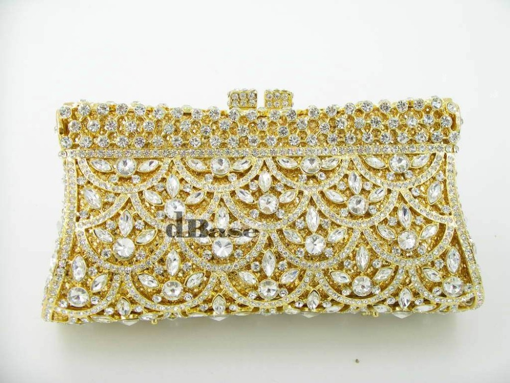 Фотография 8272 crystal Lady fashion Wedding Bridal hollow Metal Evening purse clutch bag handbag box