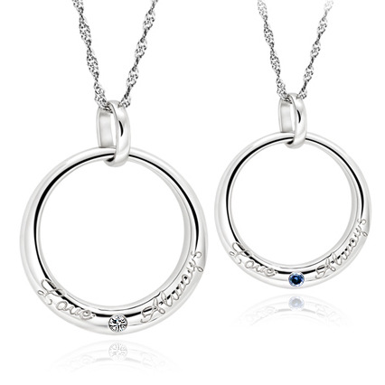 2015 New Couples Necklace Silver With Artificial Diamond Lover's Pendants Necklace(China (Mainland))