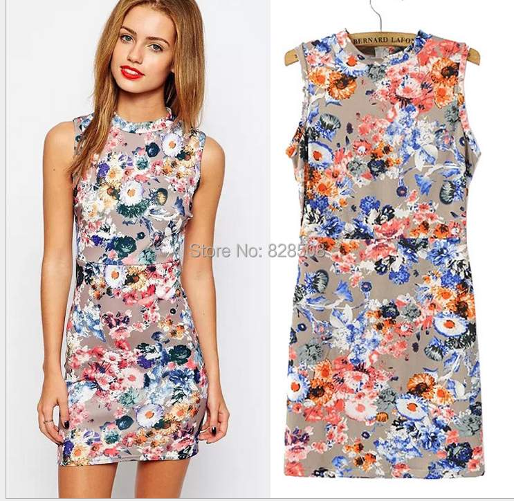 Fahison Pink Blue Flower Print Dress Women Clothing Casual sleeveless Mini Summer 2015 vestido de festa - BeWin Women's Fashion store