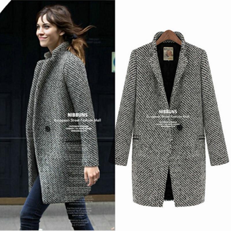 European Winter Women Casual Wool Coat Fashion Thick Long ...