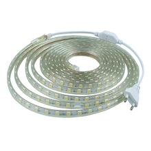 AC 220 В светодиодные ленты 5050 SMD гибкие свет 1 М/2 М ~ 25 М + Power Plug 60 светодиодов/м Водонепроницаемый крытый decoartion led light