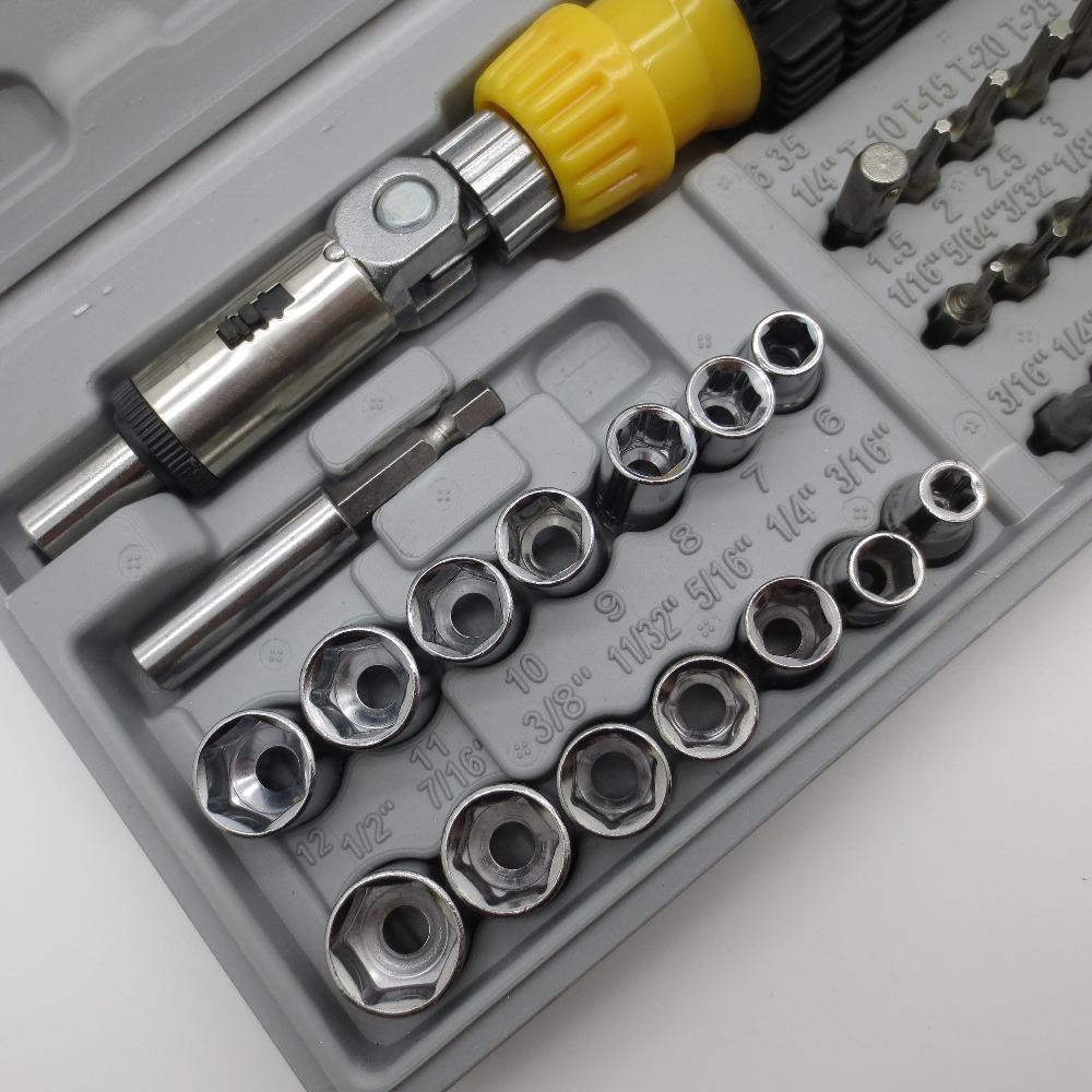 41pcs Ratchet Screwdriver Spanner Socket Set 1/4