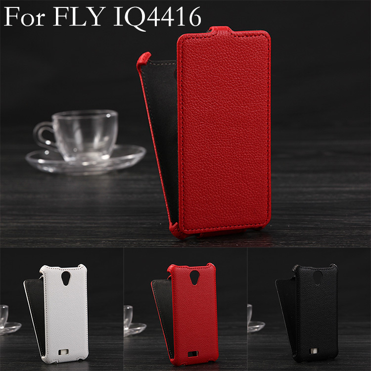 Luxury Lichee Pattern flip Leather Case Fly IQ4416 ERA Life 5 leather cover color white, black,red - JieMeiXun Technology(HK store Co.,LTD)