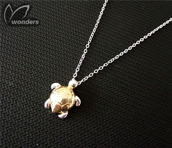 Cute Turtle Necklace Silver Charm  Sea Gift animal jewelry