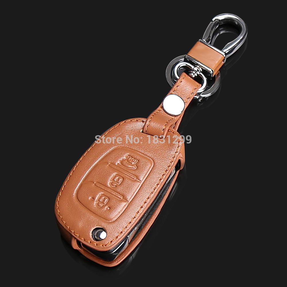Hot sale car key dust collector genuine leather car key cover for Hyundai Santafe i30 HB20 Verna ix25 ix35 ix45 3 buttons 2016(China (Mainland))