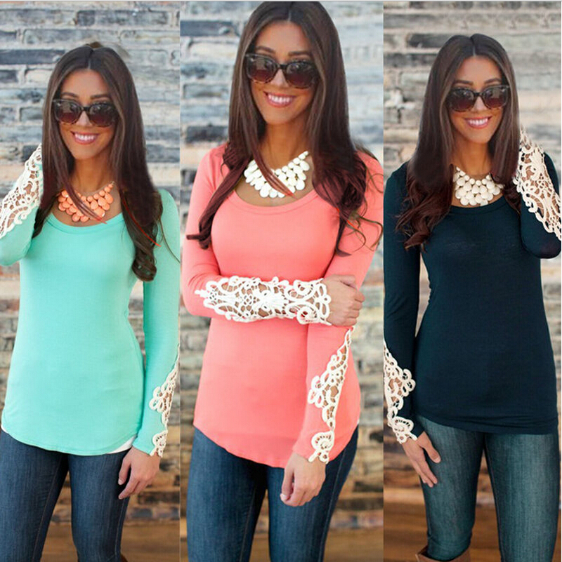 Womens Long Sleeves Tops 2015 New Lace Patchwork Women O Neck Cotton T Shirt
