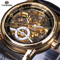 FORSINING Luxury Brand Mechanical Watches Men Black Gold Skeleton Dial Clock Casual Wristwatches Relogio Men Automatic