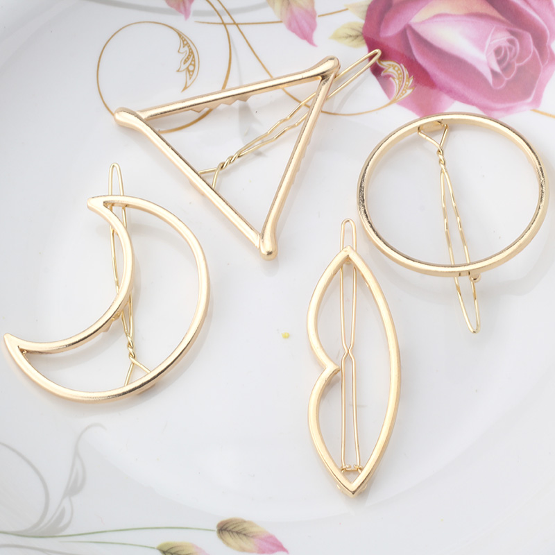 M MISM New Woman Hair Accessories Moon Circle Simply Triangle Alloy Hair Pin Clip Headdress Girls Fashion Hairgrips Barrettes(China (Mainland))