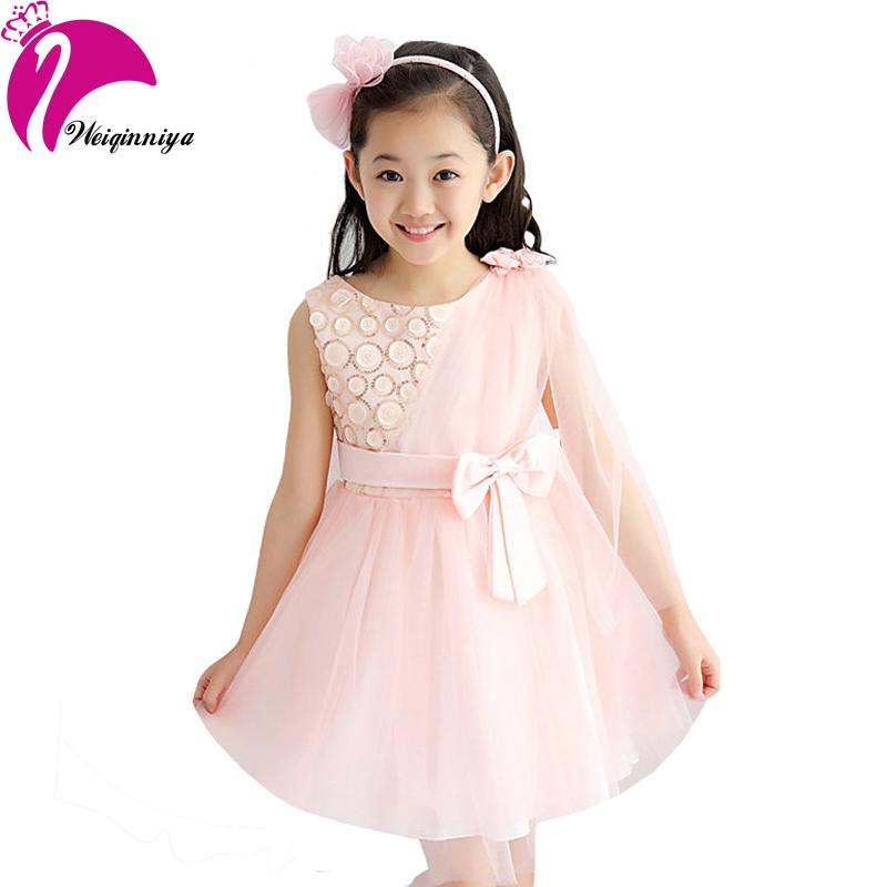 2016 Sweet Princess Girl Dress Bow Waist Lace Tulle Tutu Dress Performance Party Show Baby Flower Girls Wedding Dresses Vestido(China (Mainland))