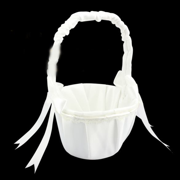 Free Shipping Wedding Stuff Supplies Schemes Satin Floral Bow Flower Girl Baskets For Weddings FCI#(China (Mainland))