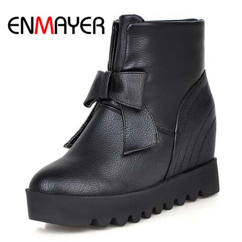ENMAYER New size 34-43 fashion women ankle boots Soft leather square heel snow boots round toe fashion autumn winter shoes boots<br><br>Aliexpress
