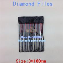 10 / pack, hay varias formas de diamantes escofina, materiales duros puede ser pulido artificial diamante 3 * 140 MM