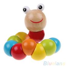 DIY Baby Kids Twist Caterpillars Wooden Toy Infant Creative Educational Gift 1SEI(China (Mainland))