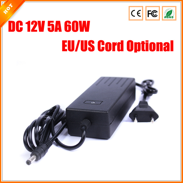 Free Shipping EU US Cord Optional 12V 5A 60W Power Adapter for CCTV Camera Power Supply Charger for Security System(China (Mainland))
