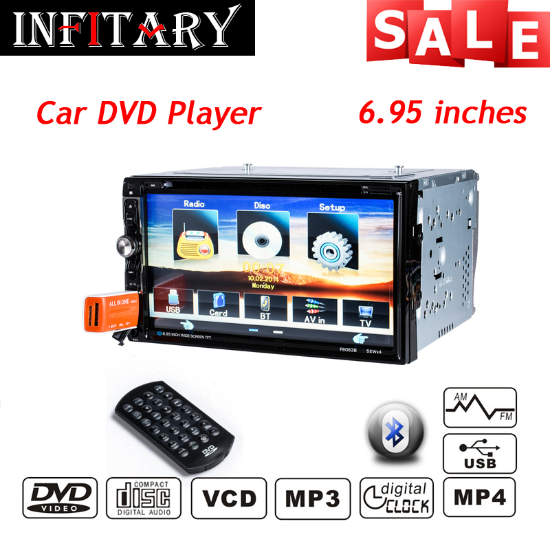 "6.95"" 2 Din Fixed Panel Universal Car Multimedia Player With Radio Receiver, Bluetooth, TV Tuner,car DVD player MP3 SD/USB(China (Mainland))"