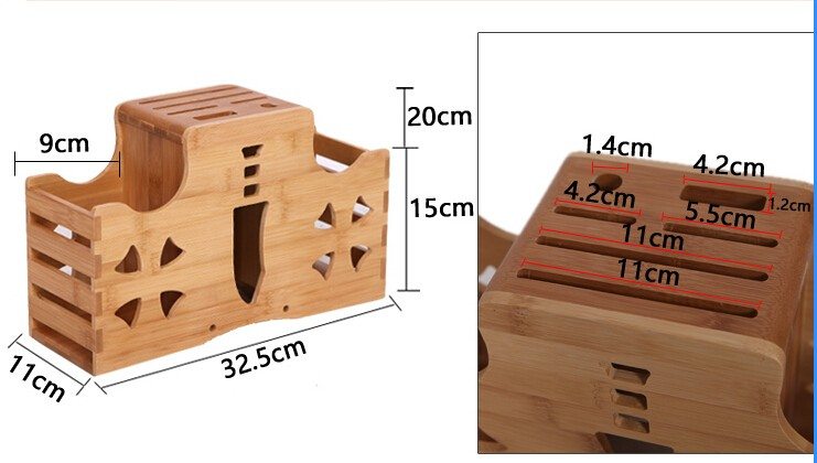 Buy Big Size Nature Bamboo Knife Blocks Super Function Double Storage Knife Holder Chopping Board Holder Free Shipping cheap