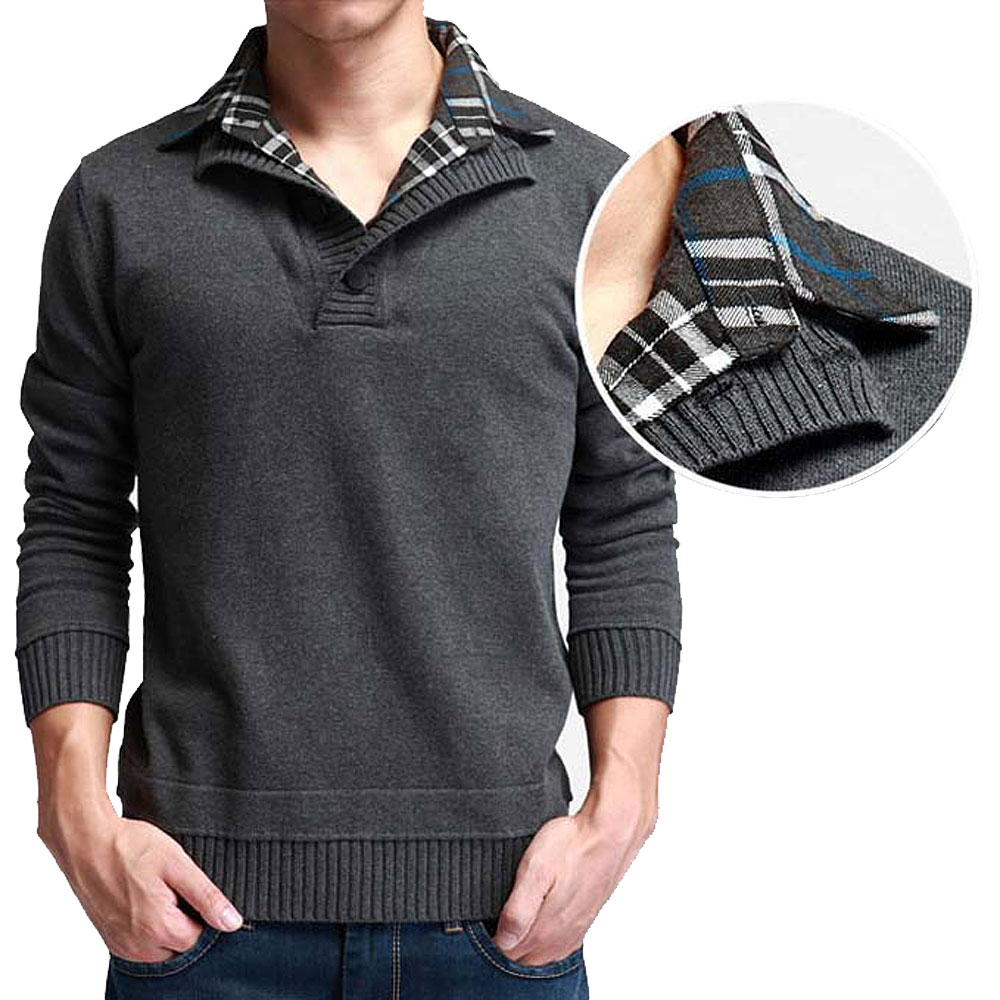 2015 fall new men 39 s fashion knitted cashmere sweater for Mens sweater collared shirt