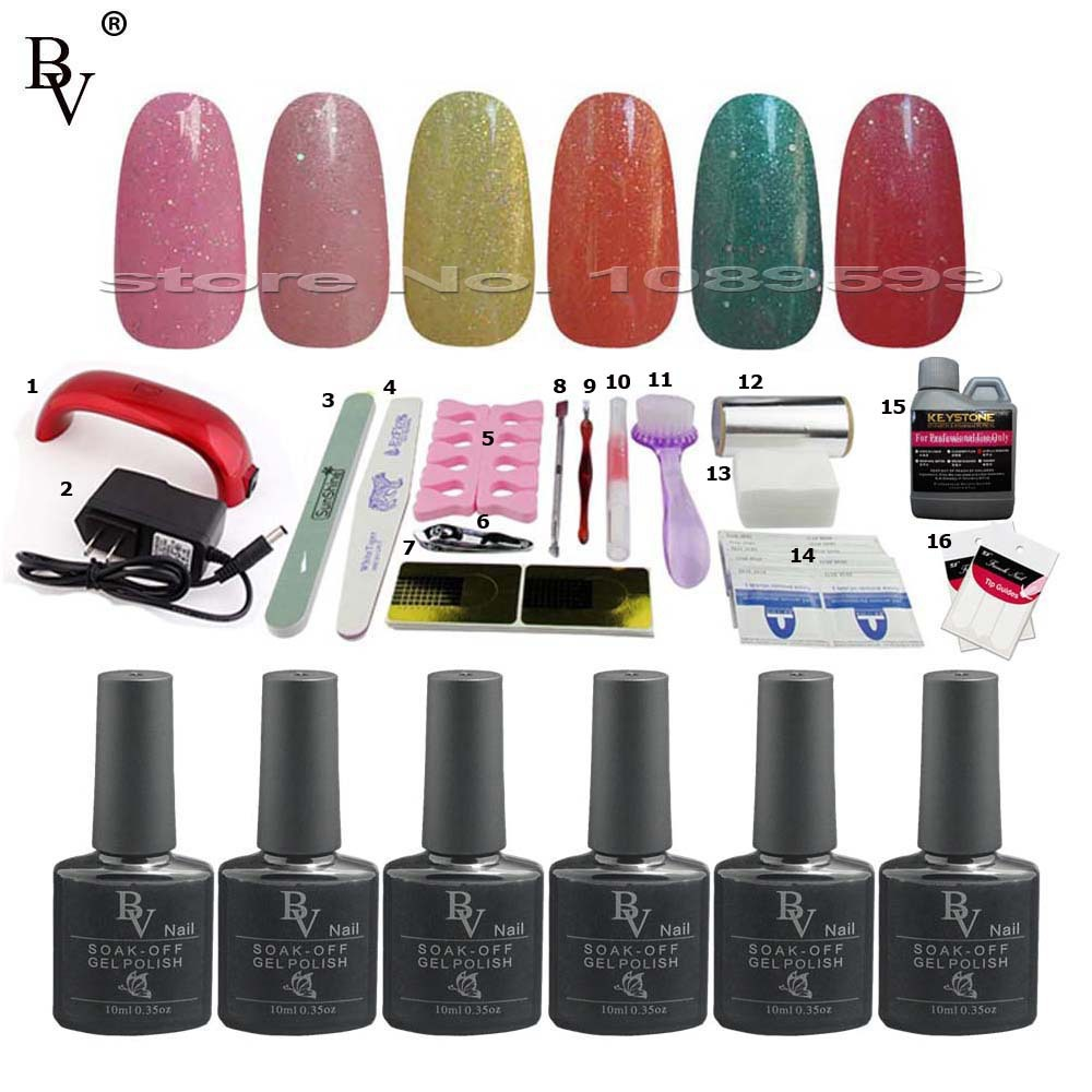 6pcs styling tools gel nail polish set colour uv gel remover nails manicure set acrylic nail. Black Bedroom Furniture Sets. Home Design Ideas