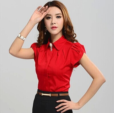 New Lady Office Shirt 2015 Work Wear Women's Tops Butterfly Short Sleeve Turn-Down Collar Rose Red White Women Blouse(China (Mainland))