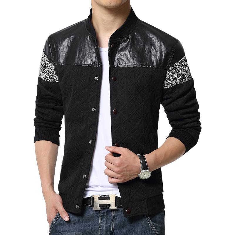 men trend patchwork pu korean slim fit mens designer clothes men