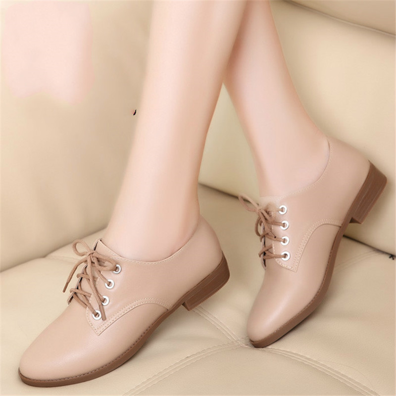 Spring and Summer Shoes Ladies Plus Size Fashion Leather Shoes Formal 2016 New Shoes Women Genuine Leather Lace-up Leather Shoes