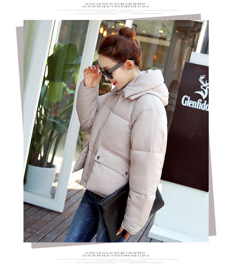 Yeni moda big cep kapşonlu yastıklı ceket gevşek büyük metre kalın sıcak pamuk Parka kadın coat