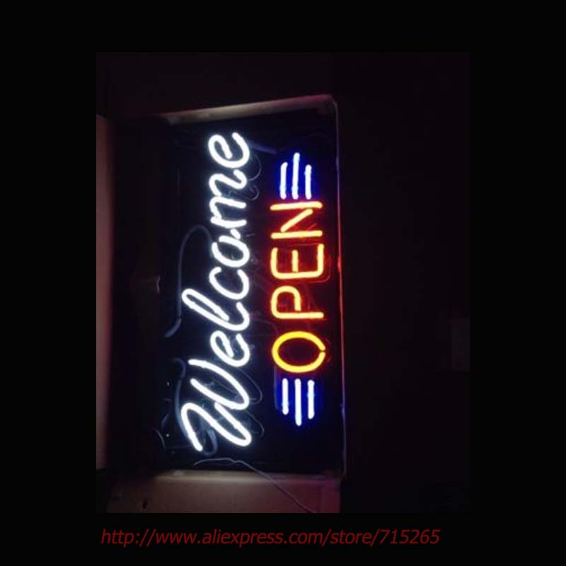WELCOME OPEN RED WHITE Neon Bulbs Real Glass Tube Handcrafted Hotel Sign Recreation Room Garage Advertise LED Sign Custom 30x12(China (Mainland))