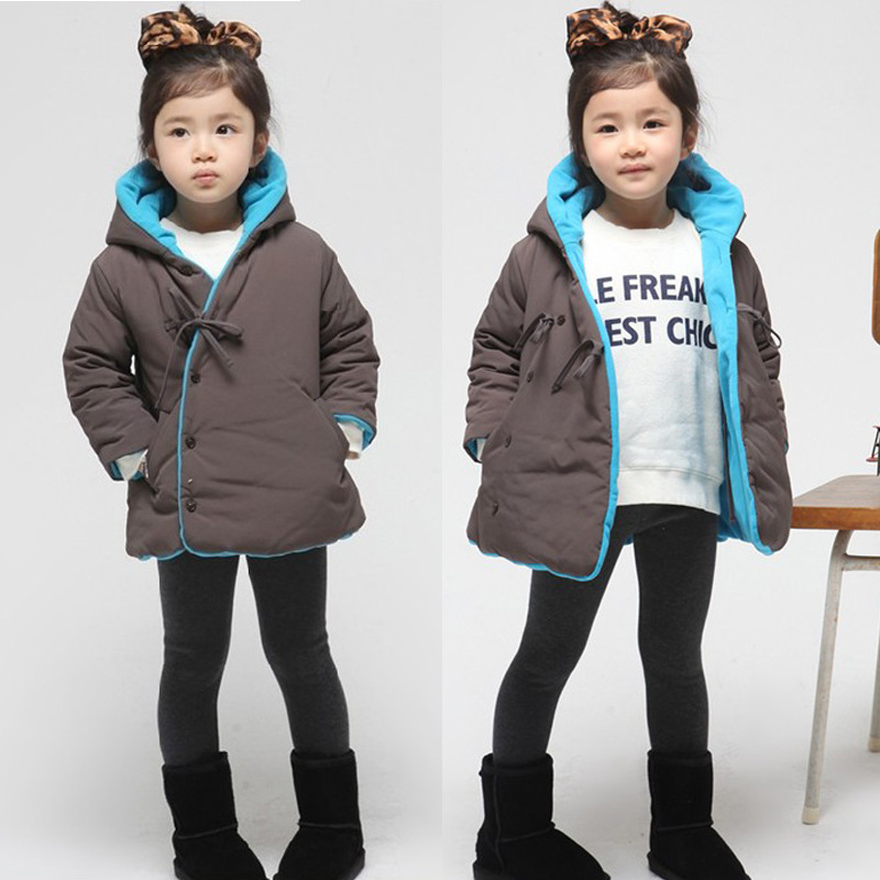 Free shipping Winter new girls long-sleeved oblique buckle hooded jacket children cotton-padded clothes<br><br>Aliexpress