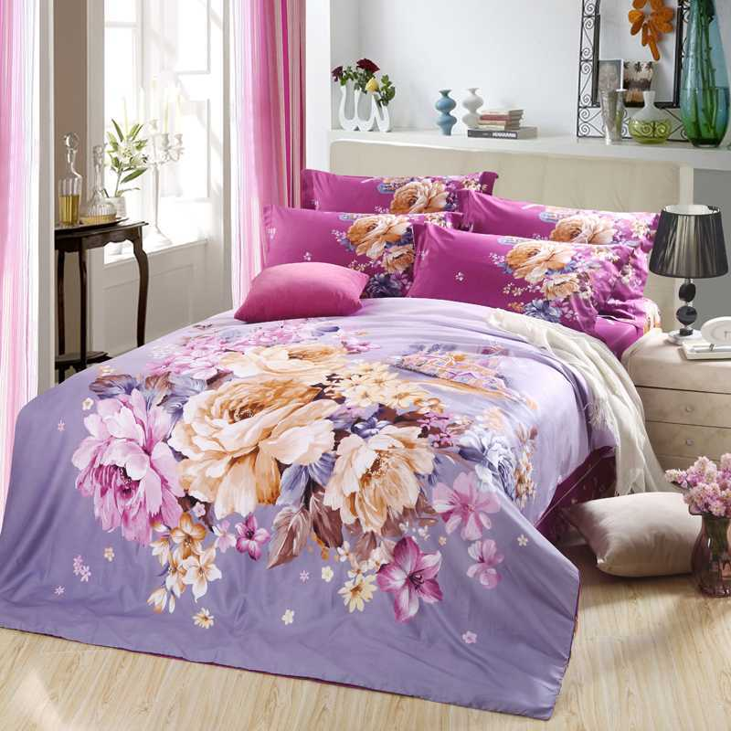 white and pink flower comforter set purple beddng set 100% cotton duvet cover full queen king size bedspread 4/5pcs quilt covers(China (Mainland))