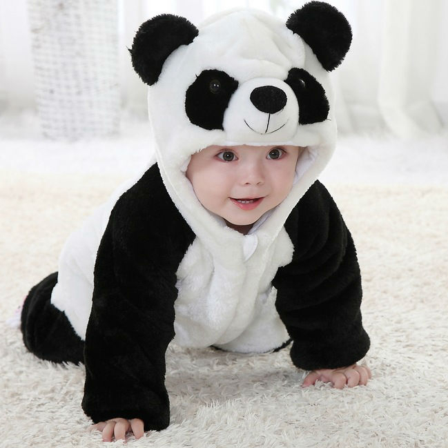 New Cute Animal Panda One Piece Long Sleeve Cotton Newborn Baby Romper Costume Clothing Clothes - Angel's chest store
