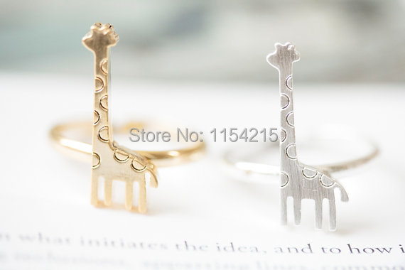Min 1pc-Gold/silver/rose gold New 2015 Europe and the United States Fashion Jewelry Deer Ring Giraffe Ring Accessories EY-R203(China (Mainland))