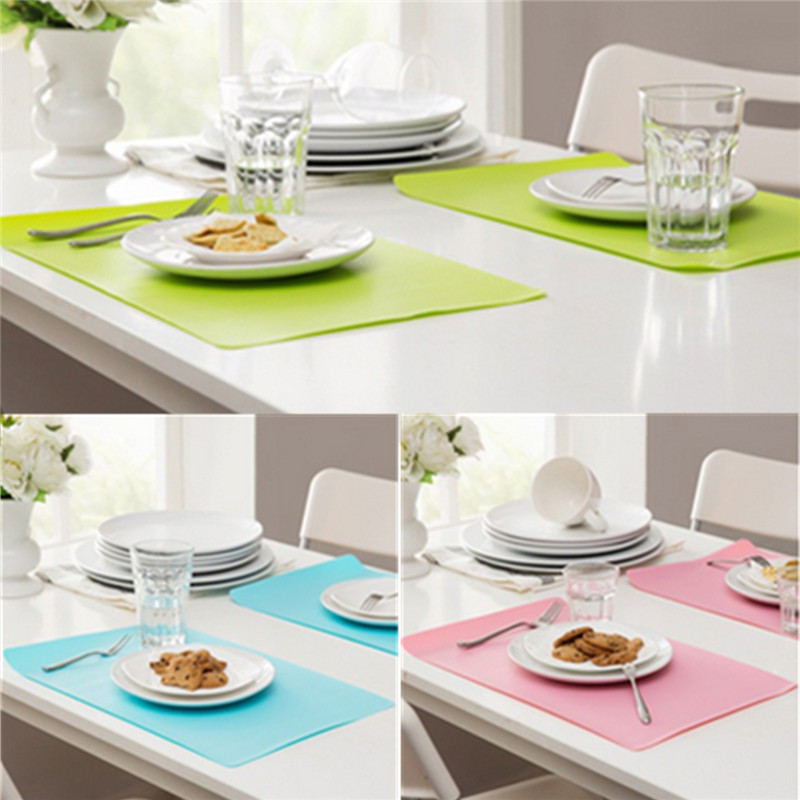 Durable Table Decoration Accessories PVC Rectanglar Tableware Heat insulated Kitchen Dinning Placemat Bowl Pad Colors Random(China (Mainland))