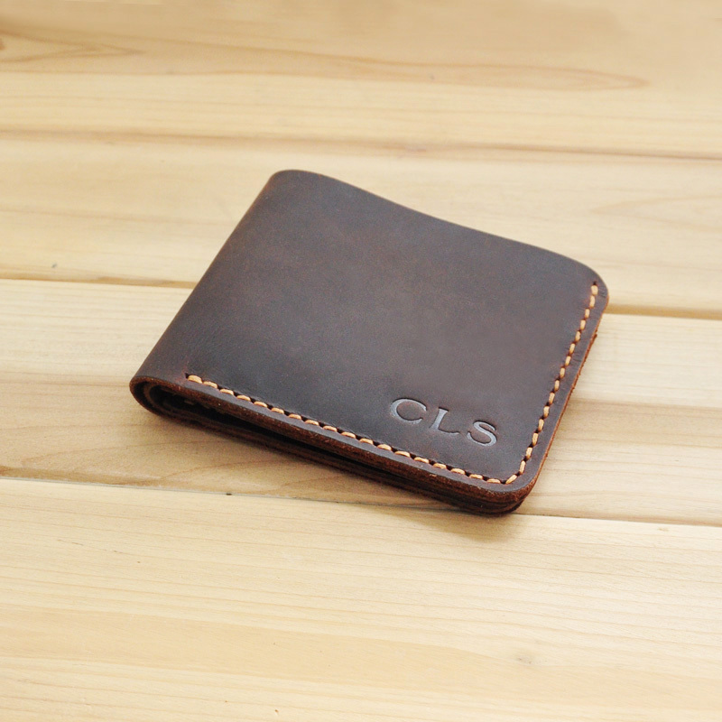 Personalized Mens Leather Wallet, Groomsmen, Best Man Wedding Gift, Custom Engraved Monogrammed Wallet, Bifold Leather Wallet(China (Mainland))