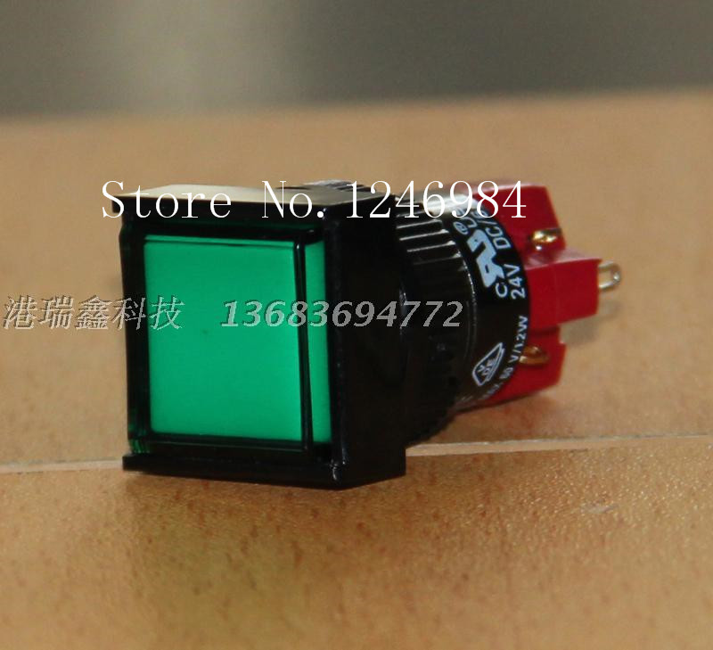 [SA]D16LAS1-1AB Taiwan Progressive Alliance lockable single green square button normally open normally closed switch DECA--10pcs<br><br>Aliexpress