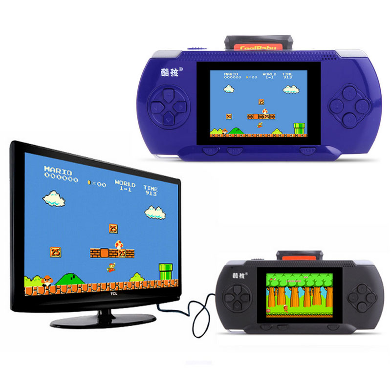 3.2 inch Children's Handheld Game Player Built-in 300 Classic Game + 1 Game Card with AV Cable Support TV-out External handle(China (Mainland))