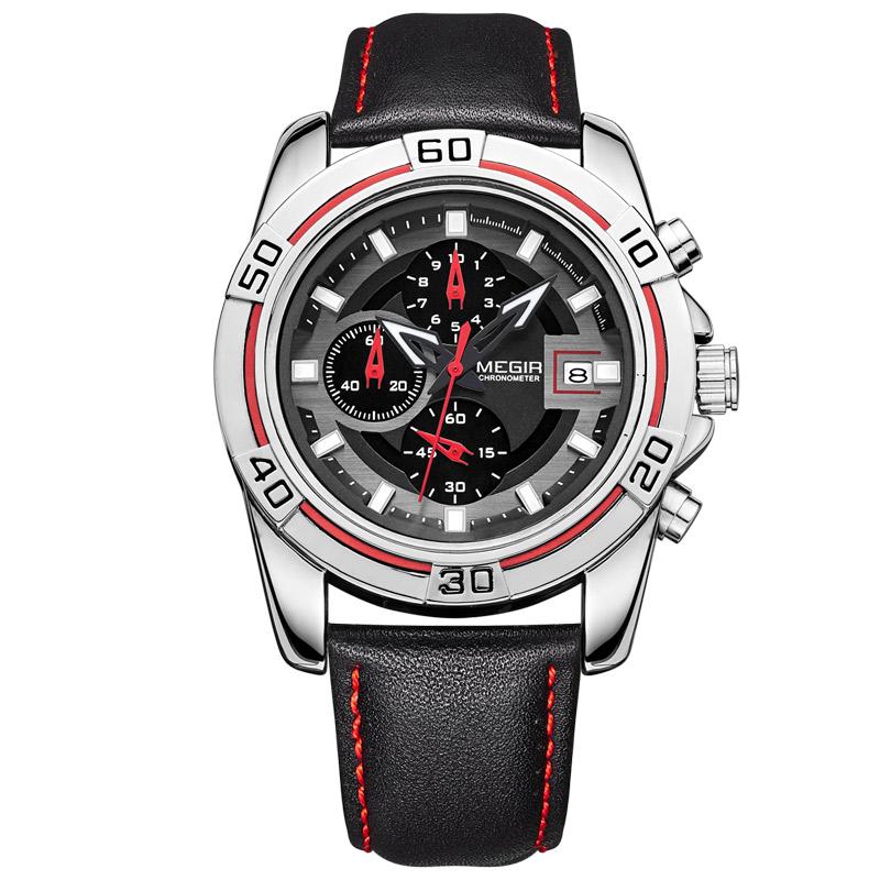 MEGIR Men's Watches Military Brands Limited Edition Relogio Running Man Quartz masculino leather wristwatch Chronograph 2023(China (Mainland))