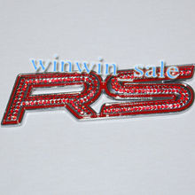 Car Emblem Badge 3D RS Racing Sticker Red Artifical Diamond 3M car decor Fit Foucs Coralla Camry Golf Polo Passat - ucrazybuy store