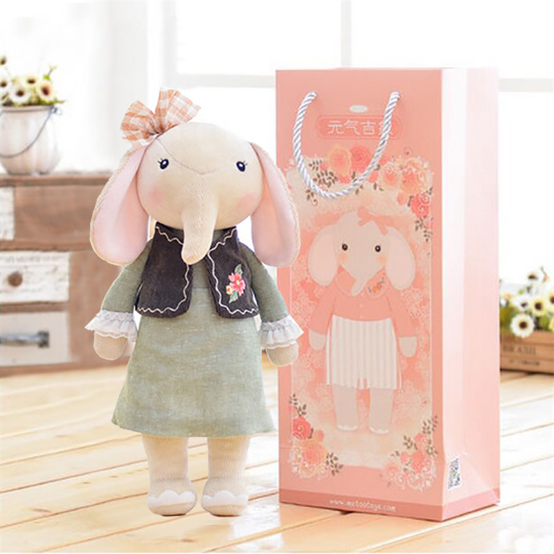 "METOO Plush Elephant Toys Girl Wear Cloth Dolls Pattern Skirt Plush Stuffed Gift Toys with Gifts Box for Kids Children 12*4""(China (Mainland))"
