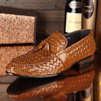 2 цвета лучшее качество мода плоским тканые ручной работы из натуральной кожи туфли-men бизнес офисные вождения обуви